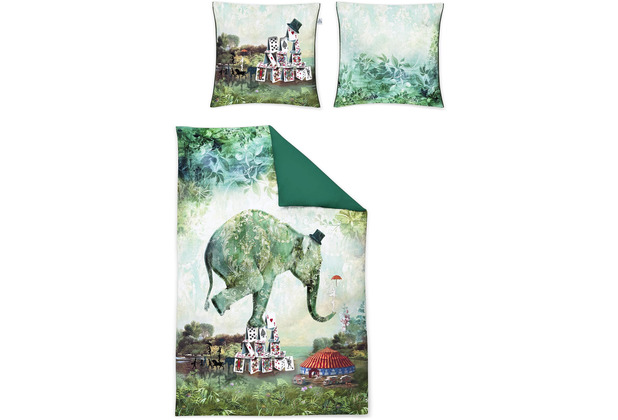 irisette Mako-Satin juwel-k 8819 grün Bettwäsche 135x200 cm, 1 x Kissenbezug 80x80 cm