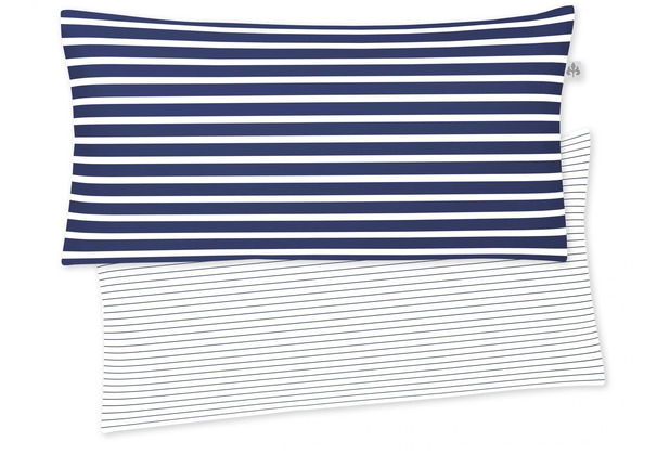 irisette Mako-Satin Kissenbezug Nora-Ki 8255 blau 40x80 cm, 1 x Kissenbezug 40x80 cm