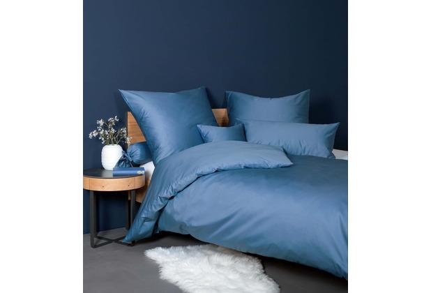 Janine Bettwäsche-Garnitur Colors Mako-Satin jeansblau 135x200, 80x80
