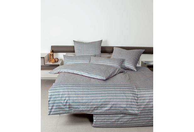 Janine Bettwäsche-Garnitur Mako-Satin mineralblau moderne Optik Bettbezug 135x200, Kissenbezug 80x80cm