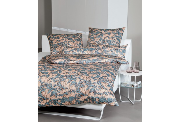 Janine Bettwäsche-Garnitur Mako-Satin mineralblau florales Muster Bettbezug 135x200, Kissenbezug 80x80cm