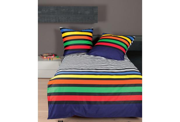 Janine Bettwäsche-Garnitur Mako-Satin multicolor 87052-09 Bettbezug 135x200, Kissenbezug 80x80cm