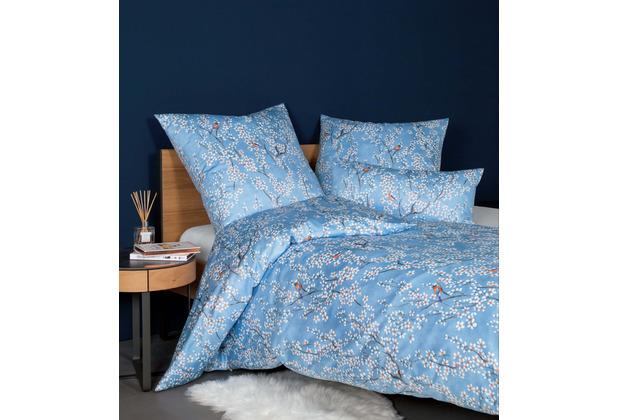 Janine Bettwäsche-Garnitur Messina Mako-Satin kornblumenblau 135x200, 80x80
