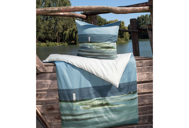 Janine Bettwäsche-Garnitur modern art Mako-Satin meerblau 135x200, 80x80