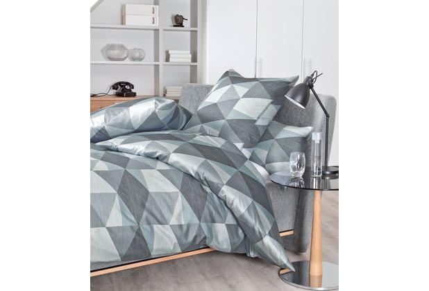 Janine Bettwäsche Interlock-Jersey graphit dampfblau Bettwäsche 135X200,Kissenbezug 80x80