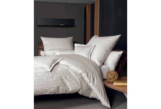 Janine Bettwäsche Mako-Satin modernclassic naturell gestreift Bettbezug 135x200, Kissenbezug 80x80cm