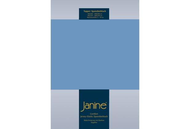 Janine Comfort-Jersey-Spannbettuch Elastic blau Topper Spannbettlaken 200x200