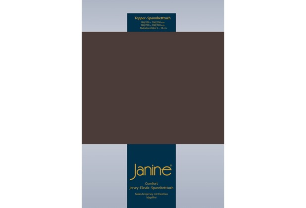 Janine Comfort-Jersey-Spannbettuch Elastic dunkel braun Topper Spannbettlaken 200x200