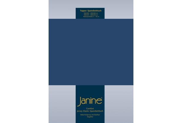Janine Comfort-Jersey-Spannbettuch Elastic marine Topper Spannbettlaken 200x200
