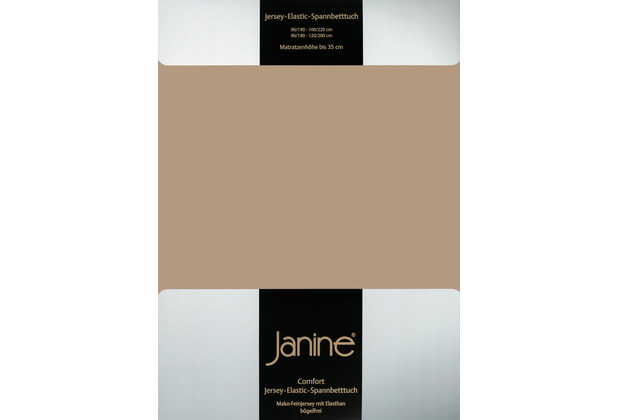 Janine Comfort-Jersey-Spannbettuch Elastic nougat Spannbettlaken 200x200