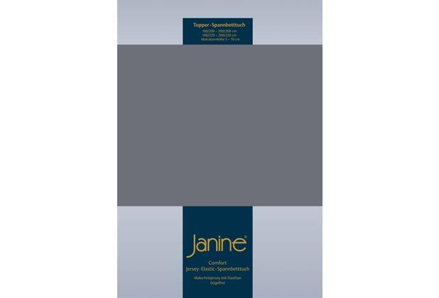 Janine Comfort-Jersey-Spannbettuch Elastic opalgrau Topper Spannbettlaken 200x200