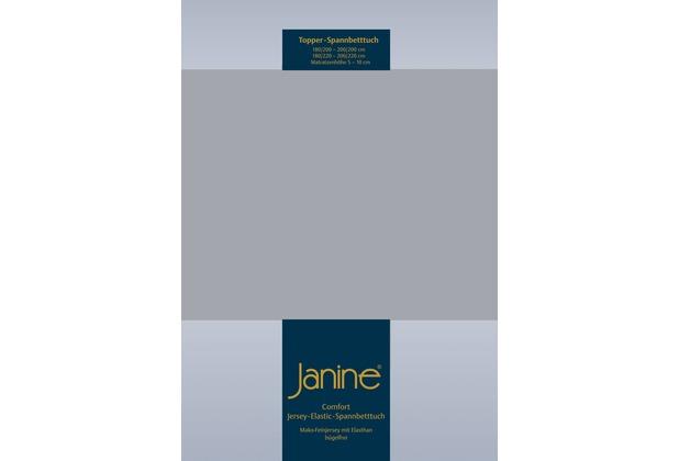 Janine Comfort-Jersey-Spannbettuch Elastic platin Topper Spannbettlaken 200x200
