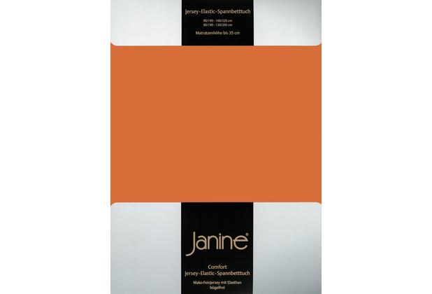 Janine Comfort-Jersey-Spannbettuch Elastic rost-orange Spannbettlaken 200x200