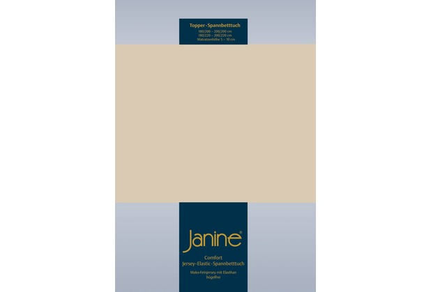 Janine Comfort-Jersey-Spannbettuch Elastic sand Topper Spannbettlaken 200x200