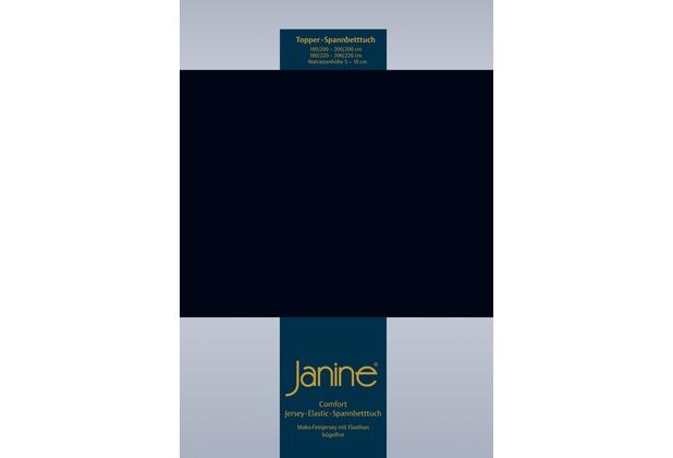 Janine Comfort-Jersey-Spannbettuch Elastic schwarz Topper Spannbettlaken 200x200