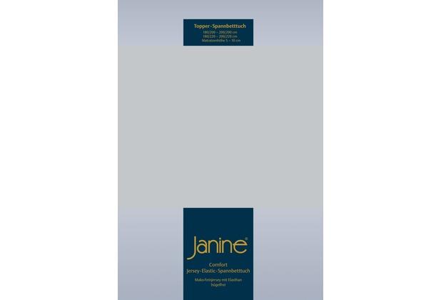 Janine Comfort-Jersey-Spannbettuch Elastic silber Topper Spannbettlaken 200x200
