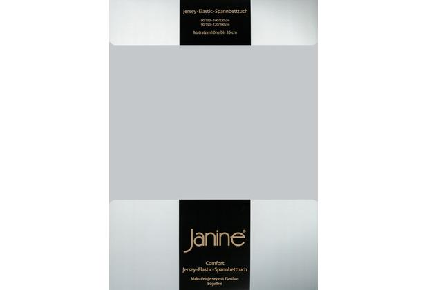 Janine Comfort-Jersey-Spannbettuch Elastic silber Spannbettlaken 200x200