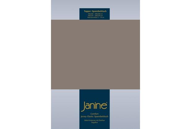 Janine Comfort-Jersey-Spannbettuch Elastic taupe Topper Spannbettlaken 200x200