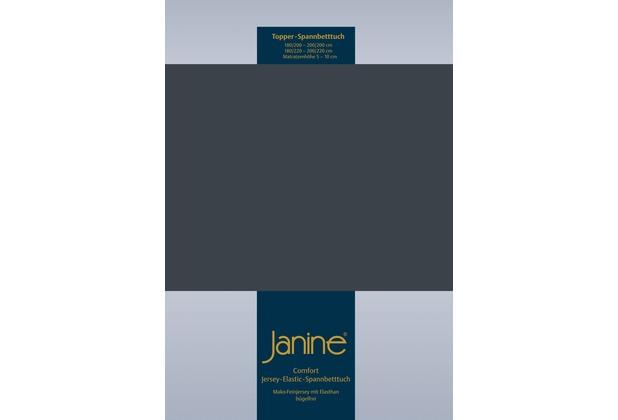 Janine Comfort-Jersey-Spannbettuch Elastic titan Topper Spannbettlaken 200x200