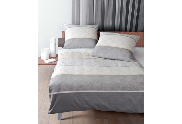 Janine Feinbiber Davos silber sand Bettbezug 135x200, 80x80