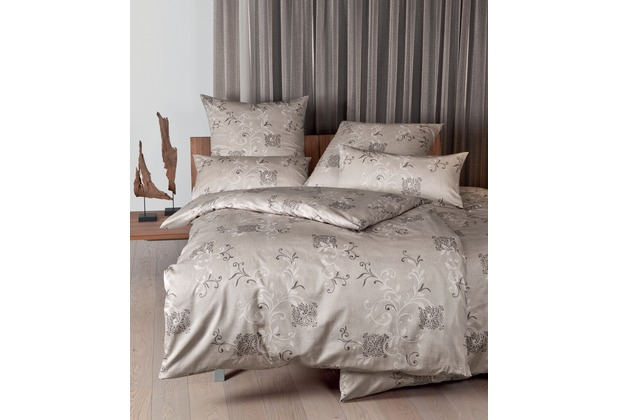 Janine Interlock-Jersey Carmen taupe Bettbezug 135x200, 80x80