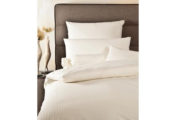 Janine Mako-Brokat-Damast Rubin natur weiß Bettbezug 135x200 cm