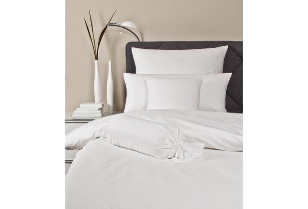 Janine Mako-Brokat-Damast Rubin weiß Bettbezug 135x200, 80x80
