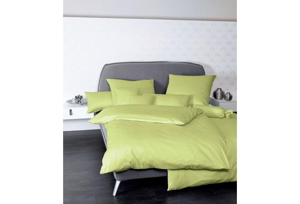 Janine Mako-Satin Colors apfelgrün Bettbezug 135x200, 80x80