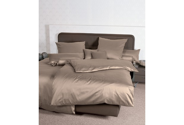 Janine Mako-Satin Colors taupe Bettbezug 135x200, 80x80