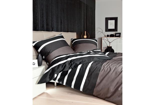 Janine Mako-Satin J. D. nougat-schwarz Bettbezug 135x200, 80x80