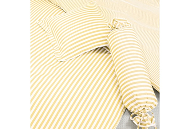 Janine Mako-Satin modernclassic gelb gestreift Kissenbezug 40x40 mit Stehsaum