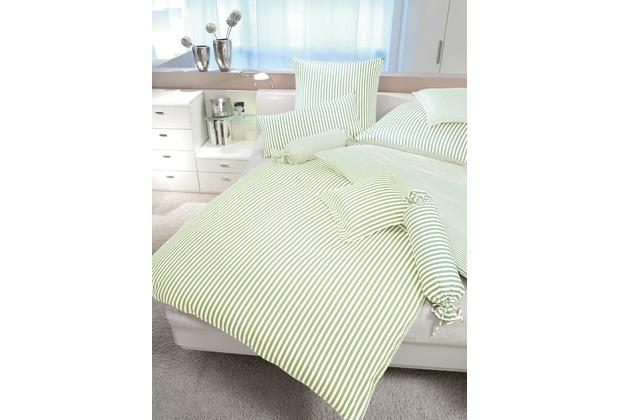 Janine Mako-Satin modernclassic hellgrün Bettbezug 135x200, 80x80