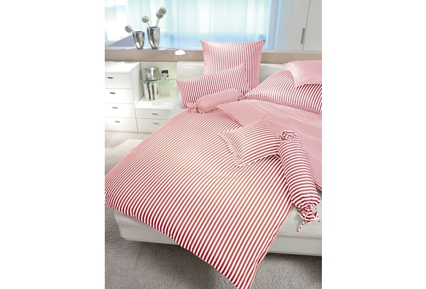 Janine Mako-Satin modernclassic rot Bettbezug 135x200, 80x80