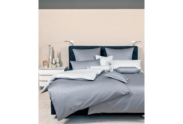Janine Mako-Satin modernclassic silber Nadelstreifen Bettbezug 135x200, Kissenbezug 80x80cm