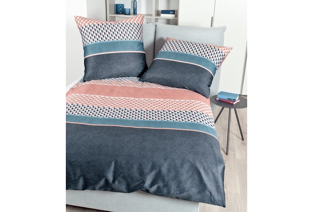 Janine Mako-Satin moments vintage blau koralle Bettwäsche 135x200,Kissenbezug 80x80