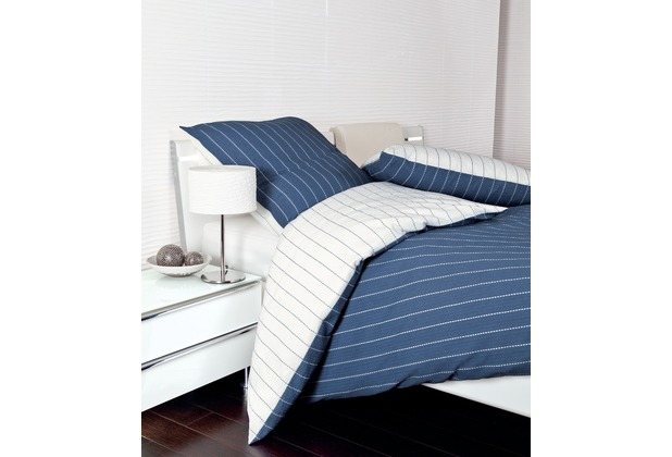 Janine Mako-Soft-Seersucker Tango denimblau Bettbezug 135x200, 80x80