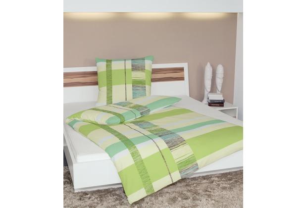 Janine Mako-Soft-Seersucker Tango grün pistazie Bettbezug 135x200, 80x80
