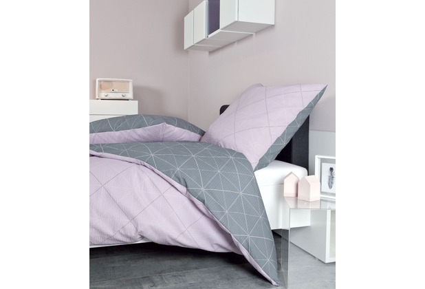 Janine Mako-Soft-Seersucker TANGO rosa silber 135x200, 80x80