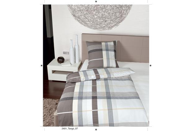 Janine Mako-Soft-Seersucker Tango sand Bettbezug 135x200, 80x80