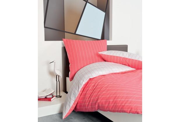 Janine Mako-Soft-Seersucker Tango sommerkoralle Bettbezug 135x200, 80x80