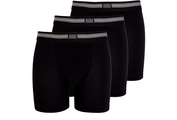 Jockey Cotton Stretch Boxer Trunk, 3er Pack black 2XL