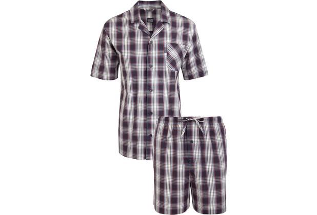 Jockey Kurzer Schlafanzug , Blau-Rot-Weiß kariert S/48