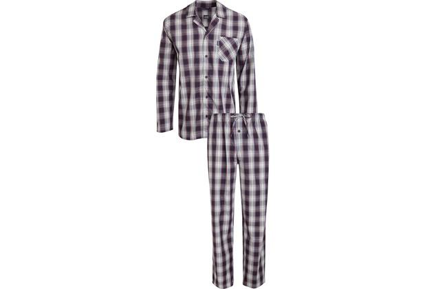 Jockey Langer Schlafanzug, Blau-Rot-Weiß kariert 98