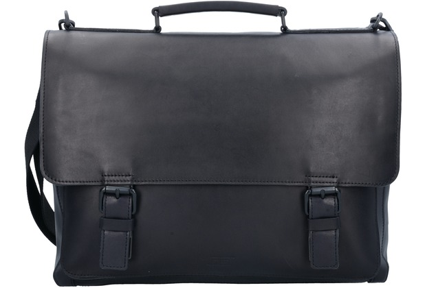 Jost Futura Aktentasche Leder 38 cm Laptopfach black
