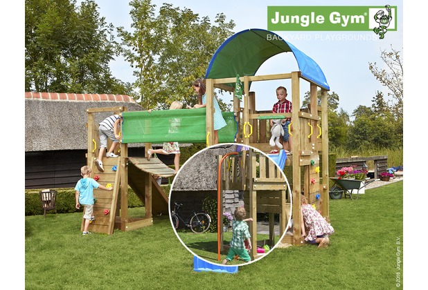 jungle gym spielturm farm h ngebr cke mit roter feuerwehr rutschstange. Black Bedroom Furniture Sets. Home Design Ideas