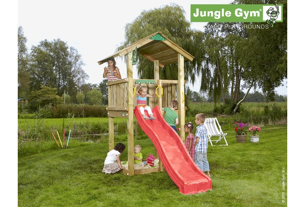 jungle gym spielturm jungle casa mit kurzer wavy star rutsche mit wasseranschluss. Black Bedroom Furniture Sets. Home Design Ideas