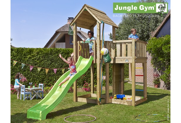 jungle gym spielturm jungle mansion mit langer wavy star rutsche mit wasseranschluss. Black Bedroom Furniture Sets. Home Design Ideas