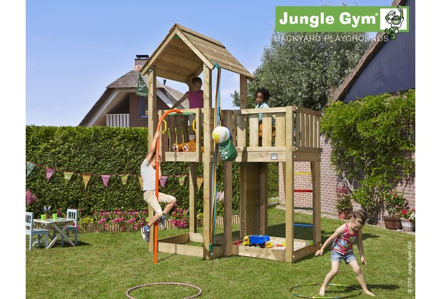 jungle gym spielturm jungle mansion mit roter feuerwehr rutschstange. Black Bedroom Furniture Sets. Home Design Ideas