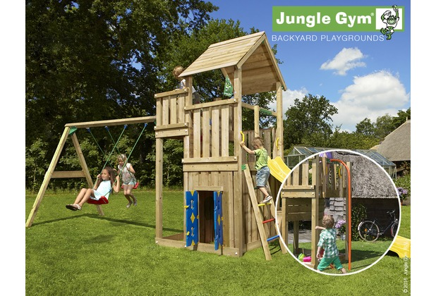 jungle gym spielturm palace spielhaus 2 schaukel mit roter feuerwehr rutschstange. Black Bedroom Furniture Sets. Home Design Ideas