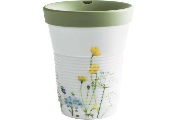 Kahla cupit Becher 0,35 l + Trinkdeckel 10x2 cm MG porcelain white+Wildblume